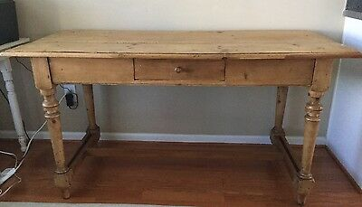 Antique Shabby English Pine Desk or Dining Table