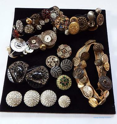 Antique Vintage Buttons Estate Lot Brass Rhinestone Celluloid Mother of Pearl