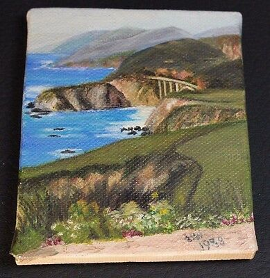 Miniature Oil Painting by Hazel Whittaker - Pacific Coast Highway 1 - 3.25 x 4""