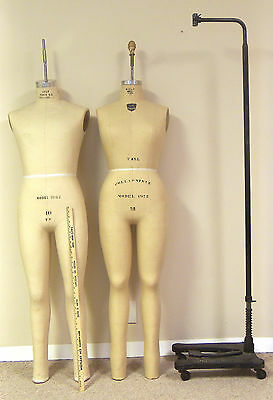 Two Full Length Professional Wolf  Dress Forms ( Dressforms ) Cast Iron Stand