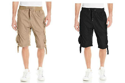 396aacf40f SOUTHPOLE Mens Basic JOGGER Shorts w/Cargo Pocket NWT Black Beige pic size  color