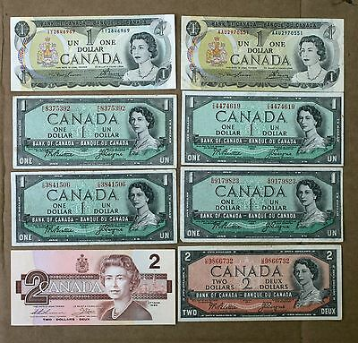 Ten Dollars in Canadian One and Two Dollar Notes From Coin Collection