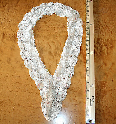 Antique Alencon Chantilly Lace Collar Trim Net Delicate Victorian Old Ecru Vtg