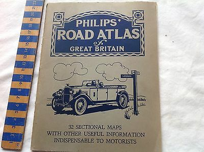 Vintage Philips' Road Atlas of Great Britain. 36 pages. 1930's?