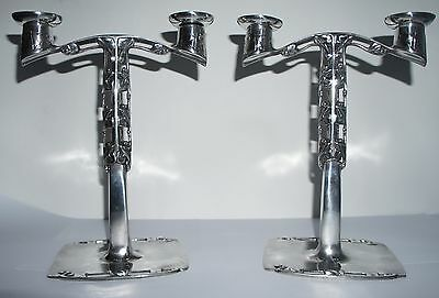Archibald Knox for Liberty & Co - Pair of Pewter Twin Branch Candlesticks c1905