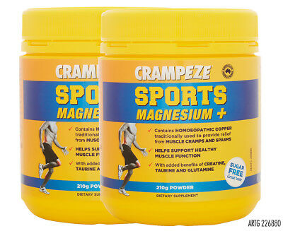 2 x Crampeze Sports Magnesium+ Powder 210g