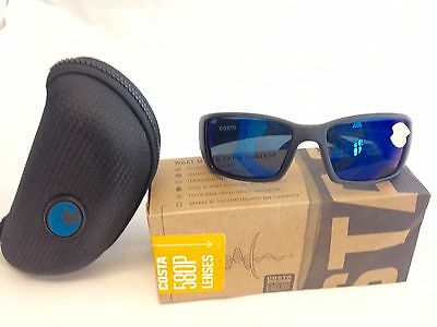 629ae87fc Costa Del Mar Blackfin Sunglasses 580P Blue Mirror Lens Matte Black Frame -  NEW