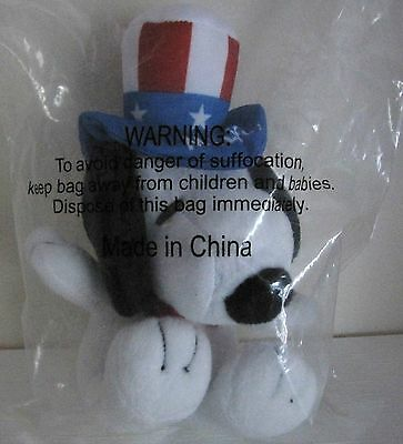 """SNOOPY 7"""" Plush Toy MetLife Patriotic July 4th Uncle Sam Stars & Stripes Hat NEW"""