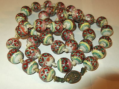 Famille rose antique Chinese porcelain beads necklace