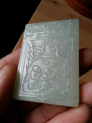 Vintage Chinese jade plaque carving
