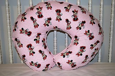 New Boppy Pillow Cover M/w Pink Minnie Mouse  & Pink Minky Dot Fleece Fabric