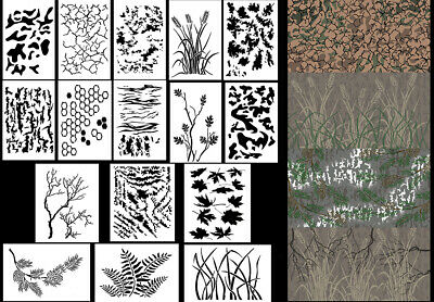 """Spray Airbrush Paint Camouflage Stencils 10 Mil Camo Duracoat 9x14"""" (16 Designs)"""