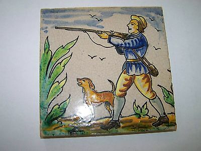 Vintage Or Antique Tile Very Attractive Depicting A Hunter