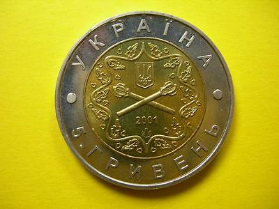 UKRAINE - 2001 bimetal 5 Hryven - 10th anniversary Military Forces - BU