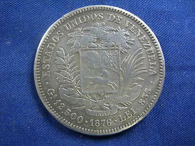 VENEZUELA - 1876A silver 50 Centavos - old cleaning - F-VF
