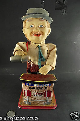 Charley Weaver Battery Operated Tin Lithograph Bartender  Toy