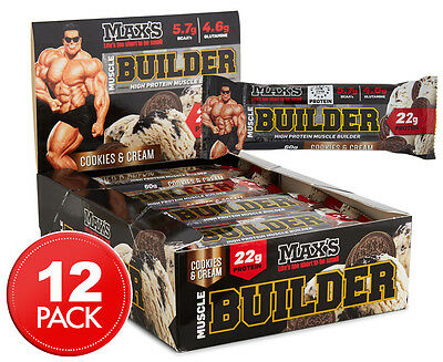 12 x Max's Muscle Builder Protein Bar Cookies & Cream 60g