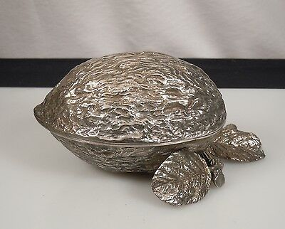 Vintage Silver Plated Walnut Shaped Box