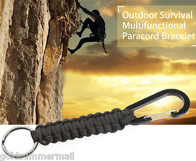 New Outdoor Survival Emergency Knitted Paracord Bracelet + Keychain Carabiner