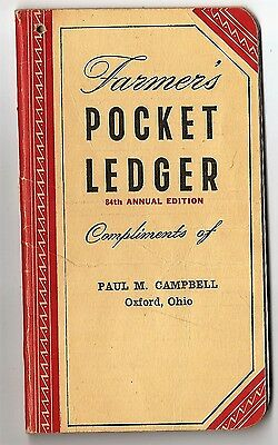 Farmer Pocket Ledger 1950 Paul Campbell Oxford Ohio 72 page John Deere advertsng