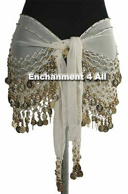 New Handmade Exotic Belly Dance Hip Scarf Wrap w/ Golden Beads & Coins Off White