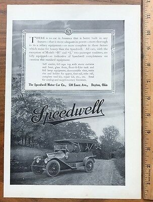 1912 Original Full Page Ad Advertising - The Speedwell Motor Car Co.