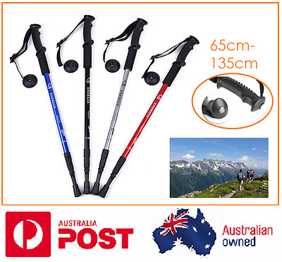 1 xNEW Durable Shock Adjustable Camping Hiking Trekking Walking Pole Cane Stick