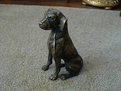 Retriever Vintage Brass Dog Figurine Lab Labrador Large Solid Handsome 9 1/2""