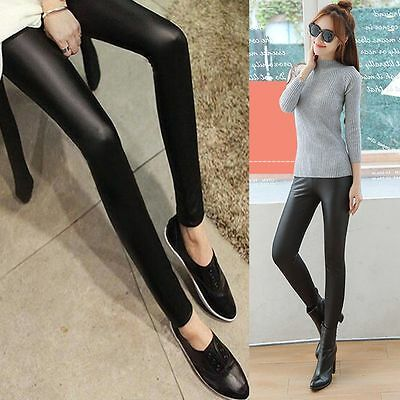 Skinny Long Cool Punk Women Pants Stretchy Faux Leather Leggings Black