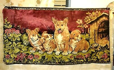 Welsh Corgi Adult & Puppies, Vintage Rug / Tapestry, Excellent Color/condition