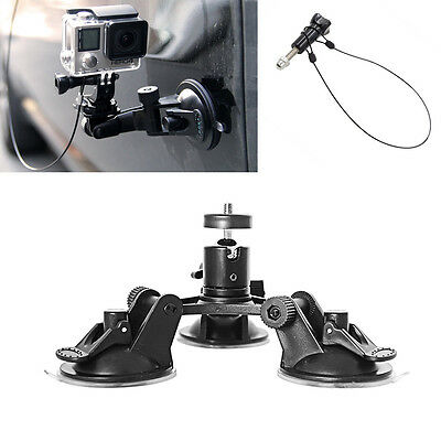 Car Triple Low Angle Suction Cup Holder Safety Tether For Gopro 2 3+ 4 5 Camera
