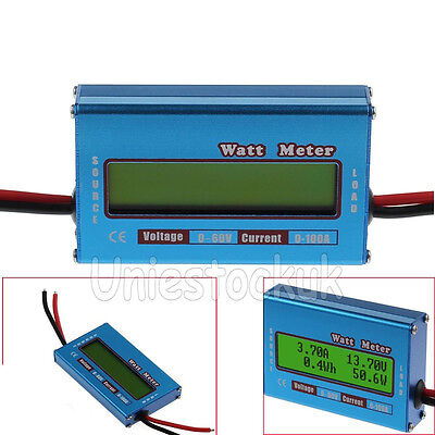 Digital LCD Watt Meter 60V/100A Power Amp Analyzer DC Ammeter Monitor RC Battery