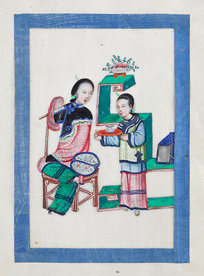 Antique 19th Century - Chinese Pith Album Showing Pastimes - Watercolors