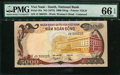 Viet Nam 1975, LEOPARD 5000 Dong, P35a, PMG 66 UNC not Specimen, Extremely Rare