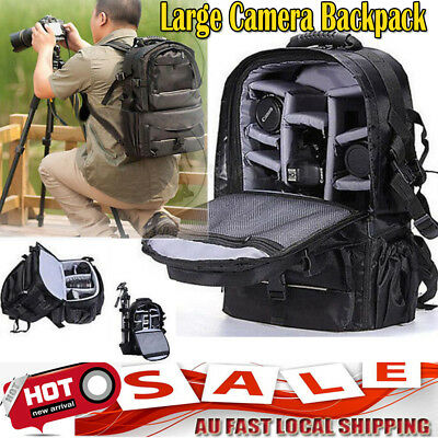 BLK Multifunctional Large Camera Backpack Bag Case For Sony Canon Nikon DSLR SLR