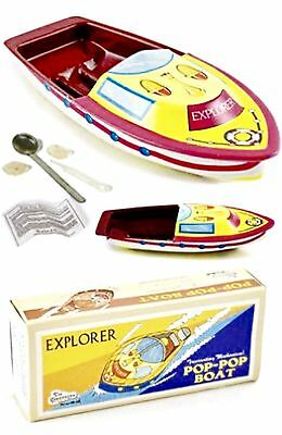 Bright and colorful Explorer Pop Pop Boat real steam powered tin toy Great Gift
