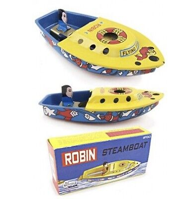 Robin Tin Steam Pop Pop Boat Candle Powered Pop Pop Tin Toy Great Gift Item