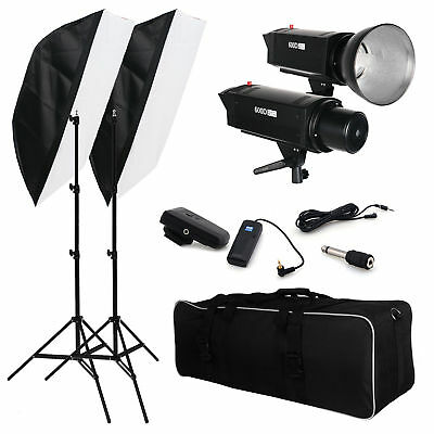 2x600W Photography Studio Flash Strobe SoftBox Soft Box Light Lighting Stand Kit