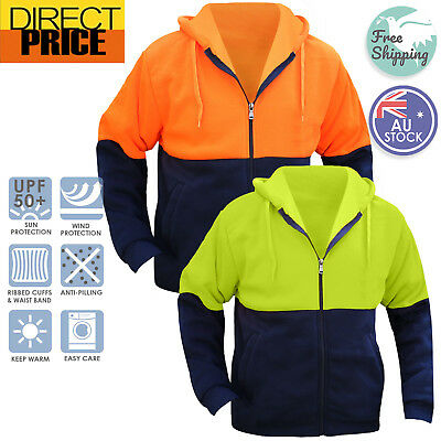 Hi Vis Full Zip Fleecy Hoodie Jumper Safety Workwear Pocket Two Tone Contrast