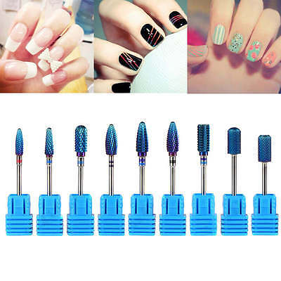 Blue Pro Ceramic Carbide Nail Drill Bit Tool Rotary File Manicure Pedicure Shank