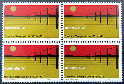1972 Australian Stamps-Centenary Completion Overland Telegraph-Block of 4 MNH