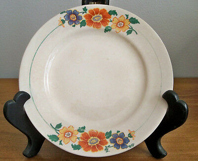 Edwin M Knowles China 1929 Vitreous Bread Butter Plate Orange Blue Yellow Flower