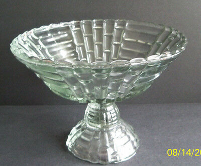 """Vintage Jeannette Glass Crystal Clear Floragold """"Louisa"""" Footed Fruit Compote"""