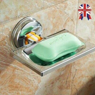 Strong Suction Bathroom Shower Soap Dish Holder Cup Tray Basket