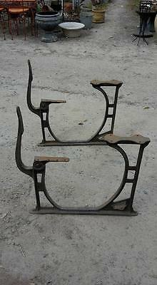 Antique Cast Iron School Bench + Table Ends with Folding Seat