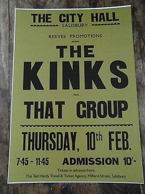 The Kinks - Concert Poster - Mint Condition - A3 Size - Thick Card