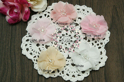 3 Chiffon small fabric flower ALLAMANDA DIY Embellishment baby headband supply