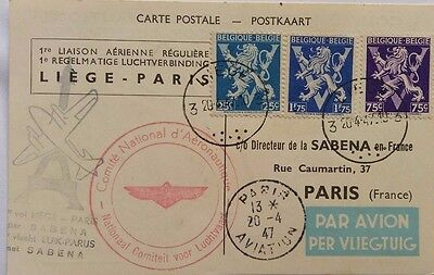 Belgium 1947 Airmail Card For First Regular Flight To Paris With Eiffel Tower