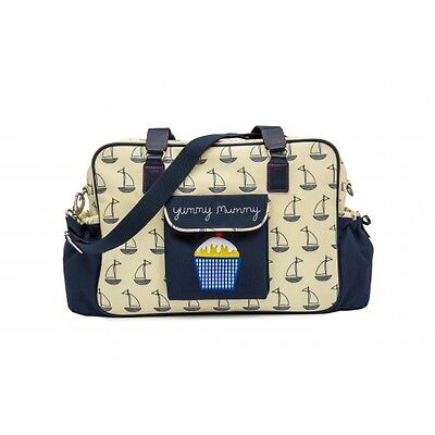 Pink Lining Yummy Mummy Changing Bag - Navy & Cream Boats