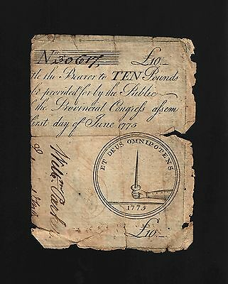 South Carolina Colonial Currency - June 1, 1775 -10 Pounds